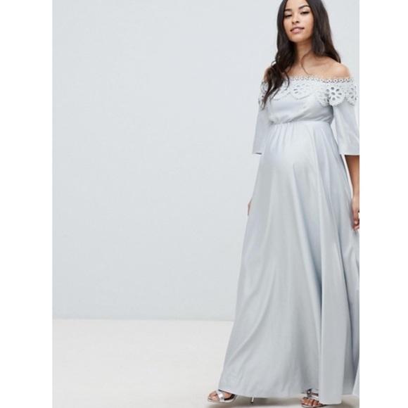 Nwt Asos Maternity Bardot Lace Maxi Dress Blue Nwt